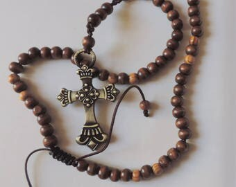 Bronze cross with Brown wood beads necklace