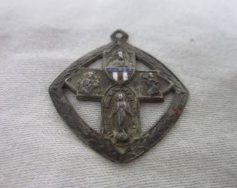 Rare WW 1 Sterling Silver & Patriotic Enameling Catholic Cross Necklace Pendant Call a Priest