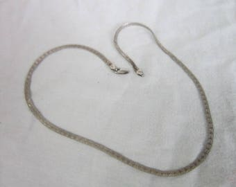 Italian Sterling Silver Flat Chain Necklace with Engraved Heart Design