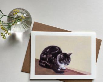 Cat, Greeting Card, Sitting Cat, Sweet, Warm, Cozy, Beautiful