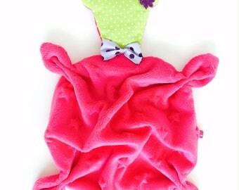 VELVET Teddy bear baby blanket/plush fuchsia pink and lime green