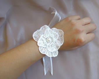 Wedding ceremony white organdy Ribbon white flower bracelet