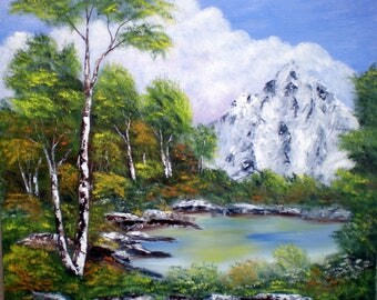 """Painting on canvas """"Mountain view"""""""