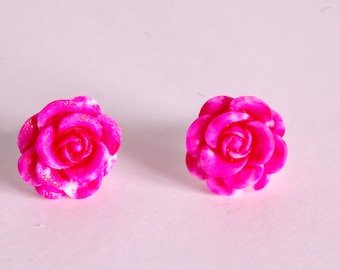 Fuchsia 3D flower ear studs