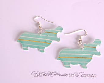 Hippo striped earrings, green white and gold