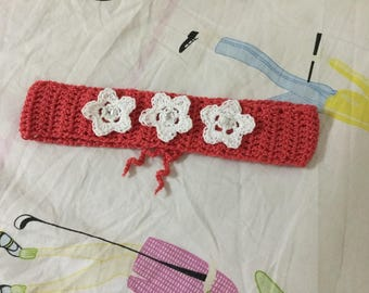 Coral flower flower headband handmade in crochet
