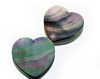 2 large hearts in pink green iridescent Pearl pendants