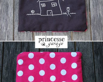 Pouch / clutch style case screen printed and hand sewn