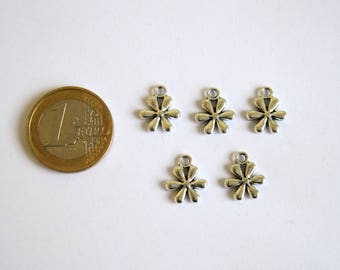 5 charms flower silver 13 x 11 mm