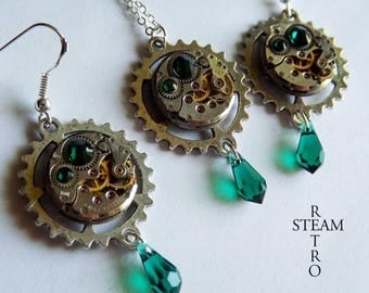 Vintage emerald green necklace watch movement and earrings Swarovski Steampunk - Steampunk jewelry set - personalized
