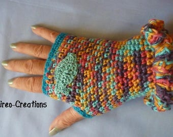 Crocheted fingerless gloves, 100% dralon multicolor with a fish on the right hand crocheted