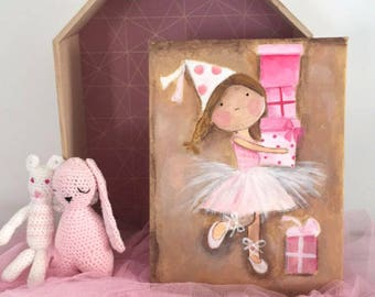 "Adorable ""little ballerina and her gifts"", girl nursery decor"