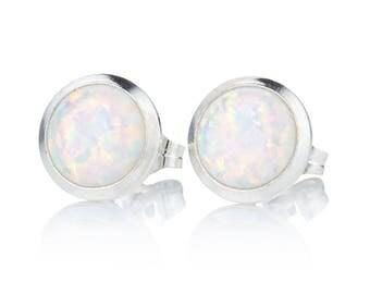 Sterling Silver White Opal 8mm Stud Earrings