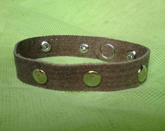 Men's brown leather and studs bracelet