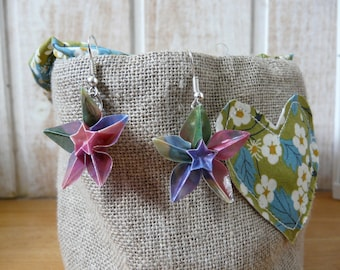 Origami paper pink multicolored starry flowers earrings