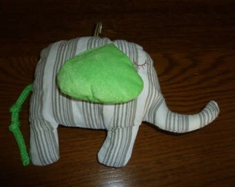 Plush Elephant: Green fabric, striped body colors gray and white earrings
