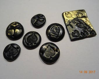 Black and gold polymer clay connectors