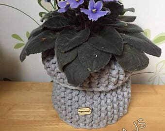 Hand-made crochet basket cache pot or other decoration
