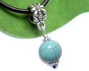 Pendant sphere in silver plated - turquoise