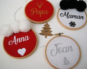 Christmas balls frame drum to personalize - Christmas tree Decoration