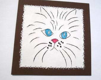 123 - Cat embroidered greeting card
