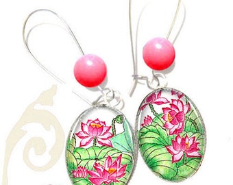 oval 18 * 25mm pink lotus and Pearl Earrings