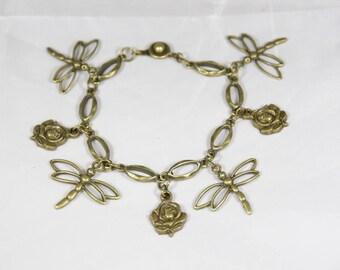 Beautiful Dragonfly 18 cm bronze bead bracelet