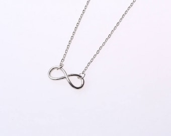Silver thin infinity pendant necklace