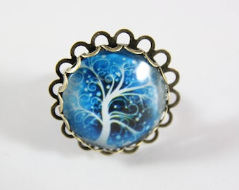 Ring cabochon, 25 mm, blue nature