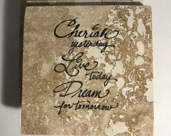 Custom Coasters-Non Stick Coasters-Personalized Coasters-Cherish Love and Dream Coasters-Travertine Tile Coasters-Drink/Barware-Housewarming