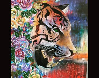 Original Acrylic Tiger Abstract Painting on a 16x20 stretched canvas