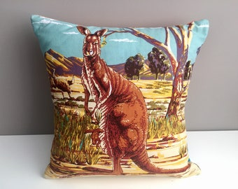 Kangaroo Tea Towel Cushion Cover