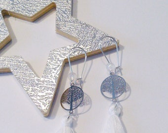 Earrings white tree of life collection