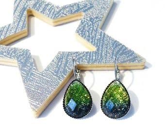 Earrings drops water Green