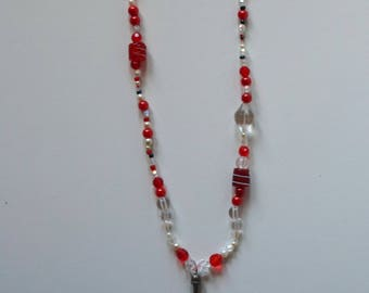 Handmade white and Red hodgepodge necklace