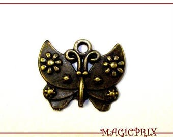 SET of 3 charms /PENDENTIFS Butterfly bronze 25 x 20 mm 435