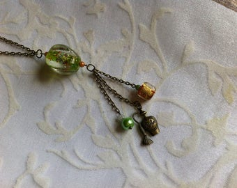 Necklace, green, Brown and orange