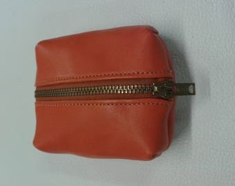 Orange lambskin leather wallet