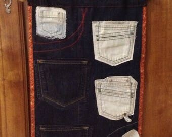 Empty pockets made of recycled blue jeans