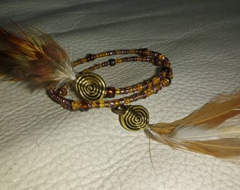 Bracelet anklet or handle feather and stone beads