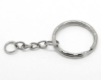 30 silver Keychain ring chain 5.3 cm