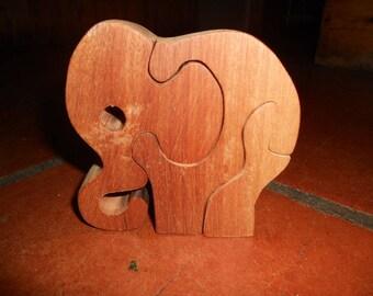 Puzzle elephant charms, mahogany wood