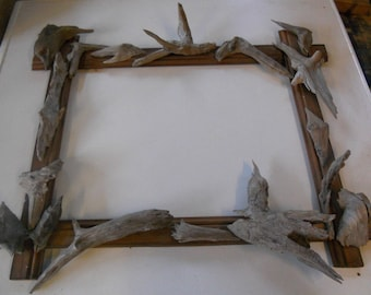 Wooden frame with Driftwood for table, photo or memo