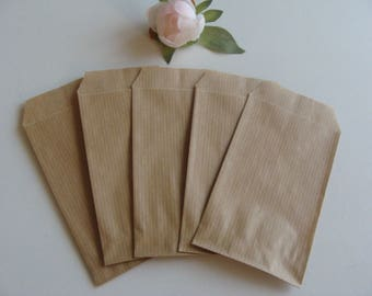 1 set of 20 kraft brown paper bag jewelry gift packaging natural 7 * 12 cm Brown background