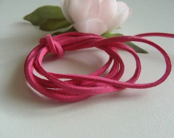 set of 2 suede cords pink bright 2 * 2 mm