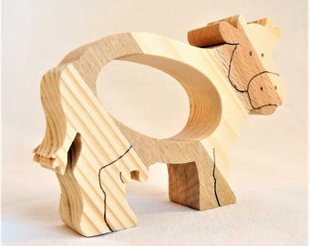 """TOWEL round of wood, spruce, """"Cow"""" natural multi-bois, table decoration for any event (wedding, christening,...)"""