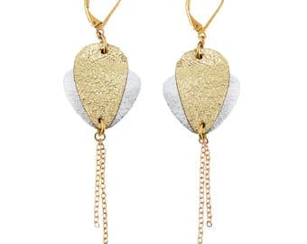 CROCUS Gold Leather earring