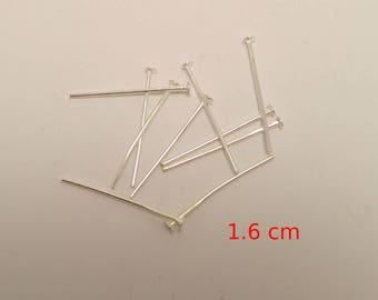 Set of 10 PCs pin Flathead 1.6 cm silver - lead and nickel free