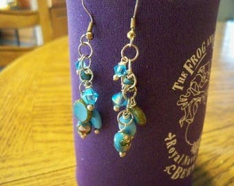 Pretty Swarovski Crystal Fun Blue Earrings SB19