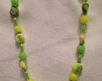 Yellow and lime green fashion necklace